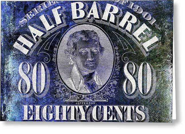 1901 Half Beer Barrel Tax Stamp Blue Greeting Card by Jon Neidert