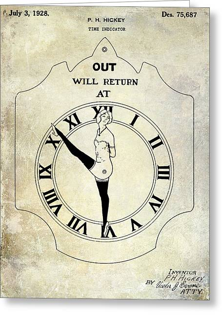 1928 Time Indicator Patent  Greeting Card