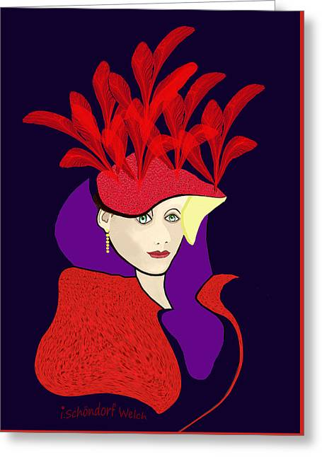 1901 - The Red Ascot Hat Greeting Card by Irmgard Schoendorf Welch