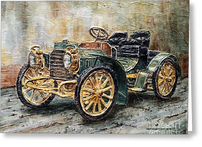 Greeting Card featuring the painting 1901 Mercedes Benz by Joey Agbayani