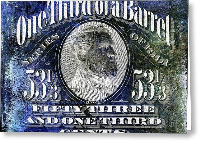 1901 One Third Beer Barrel Tax Stamp Blue Greeting Card by Jon Neidert
