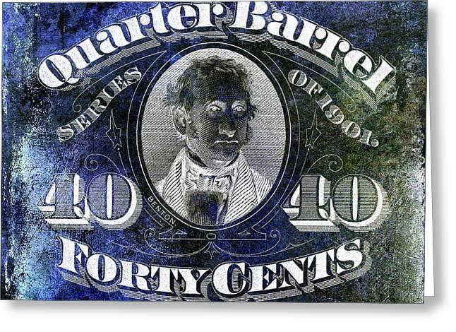 1901 Quarter Beer Barrel Tax Stamp Blue Greeting Card by Jon Neidert