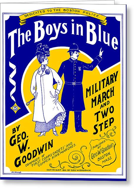 1901 The Boys In Blue, The Boston Police Greeting Card