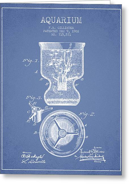 1902 Aquarium Patent - Light Blue Greeting Card by Aged Pixel