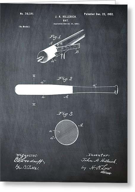1902 Baseball Bat Patent In Chalk Greeting Card