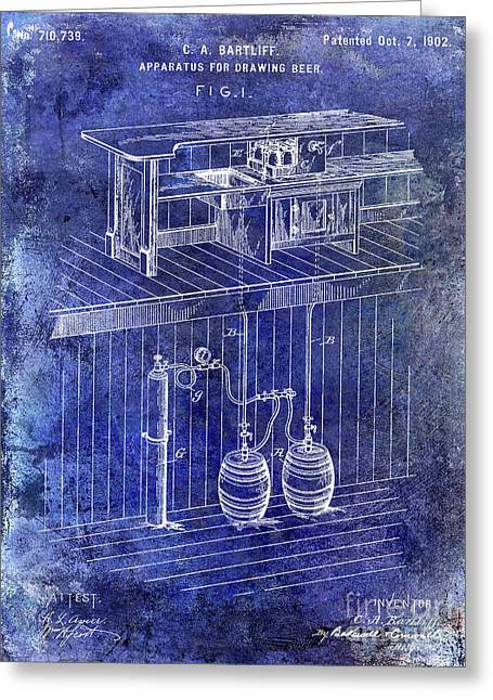 1902 Beer Draft Patent Blue Greeting Card