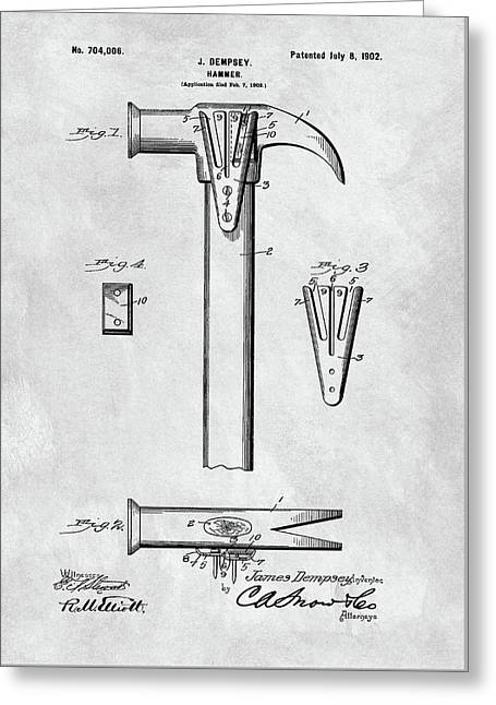 1902 Claw Hammer Patent Illustration Greeting Card by Dan Sproul