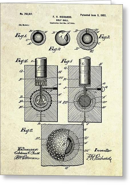 1902 Golf Ball Patent Art Greeting Card