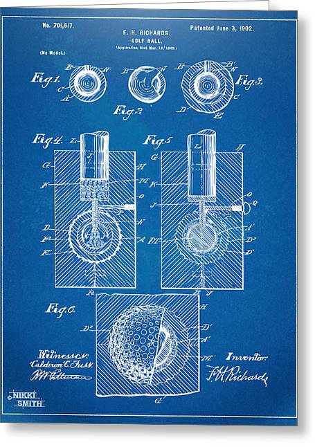 1902 Golf Ball Patent Artwork - Blueprint Greeting Card by Nikki Marie Smith