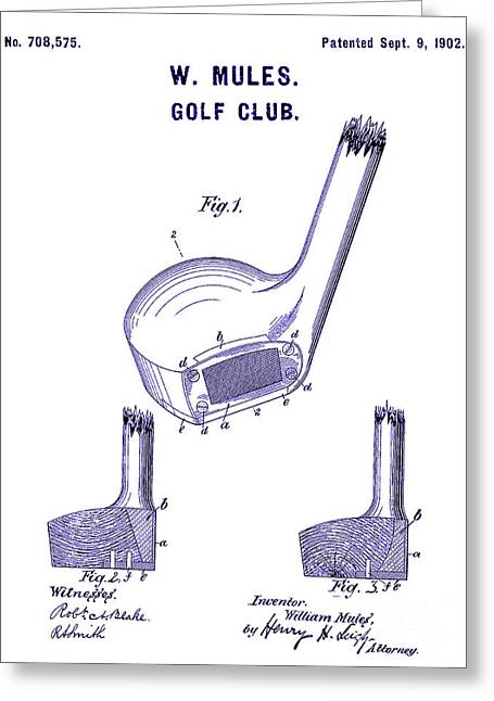 1902 Golf Club Patent Blueprint Greeting Card by Jon Neidert