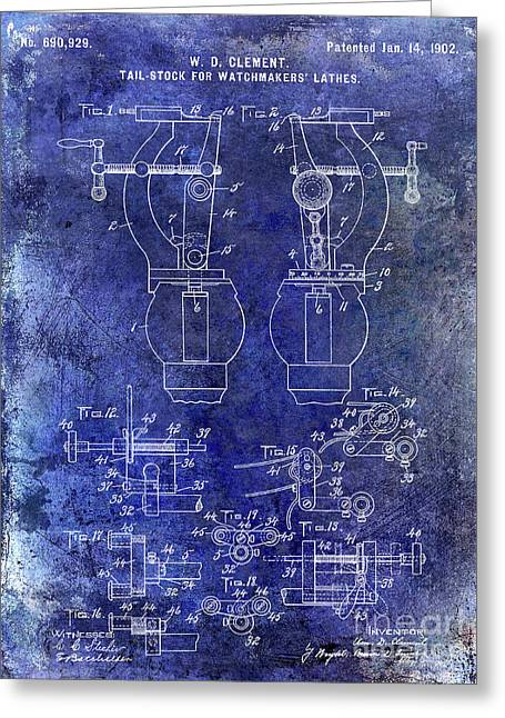 1902 Watchmakers Lathes Patent Blue Greeting Card