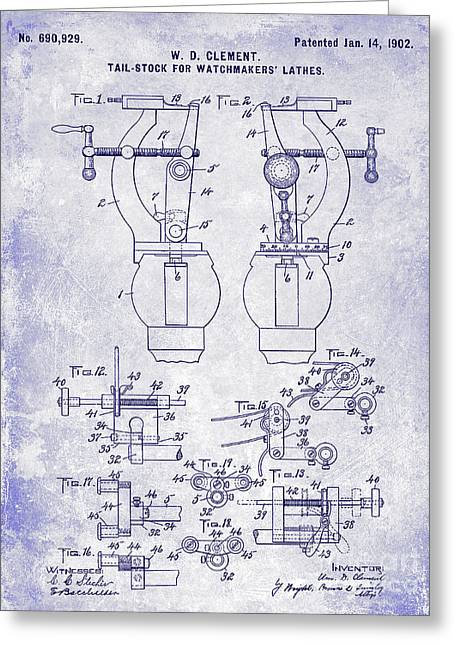 1902 Watchmakers Lathes Patent Blueprint Greeting Card