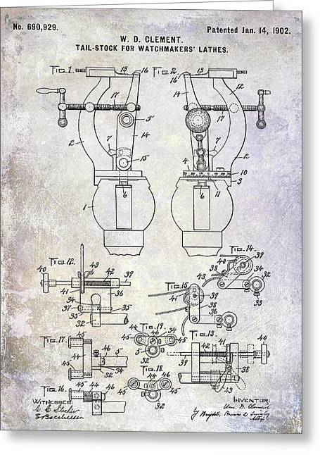 1902 Watchmakers Lathes Patent Greeting Card
