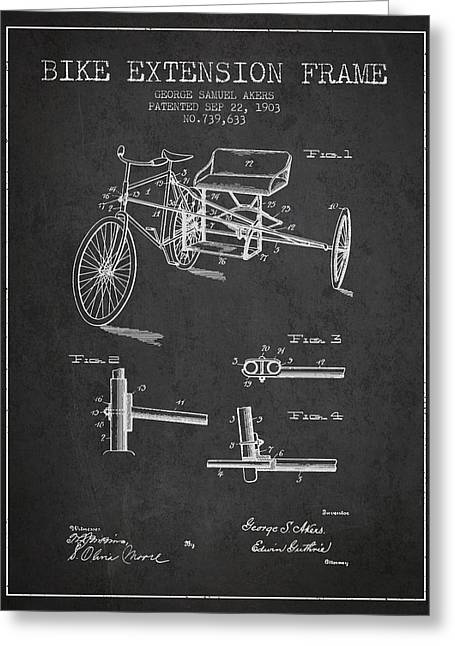 1903 Bike Extension Frame Patent - Charcoal Greeting Card by Aged Pixel