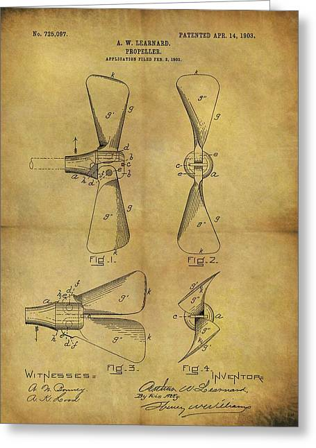 1903 Boat Propeller Patent Greeting Card by Dan Sproul