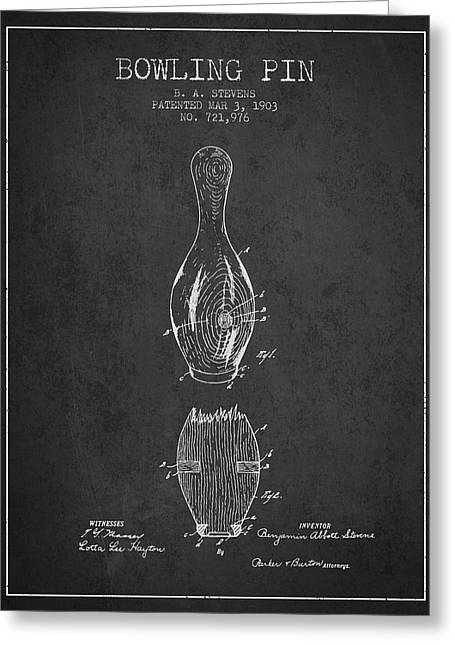 1903 Bowling Pin Patent - Charcoal Greeting Card by Aged Pixel