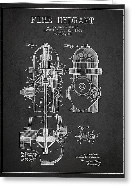 1903 Fire Hydrant Patent - Charcoal Greeting Card by Aged Pixel