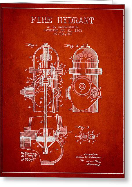 1903 Fire Hydrant Patent - Red Greeting Card by Aged Pixel