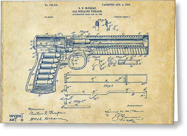 Patent Artwork Greeting Cards - 1903 McClean Pistol Patent Artwork - Vintage Greeting Card by Nikki Marie Smith