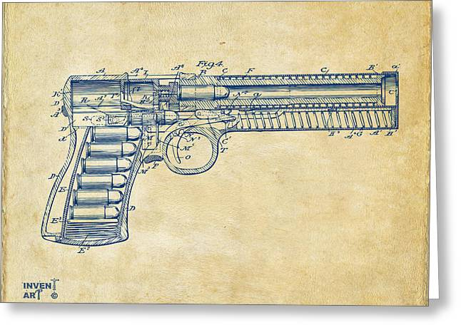 Patent Artwork Greeting Cards - 1903 McClean Pistol Patent Minimal - Vintage Greeting Card by Nikki Marie Smith