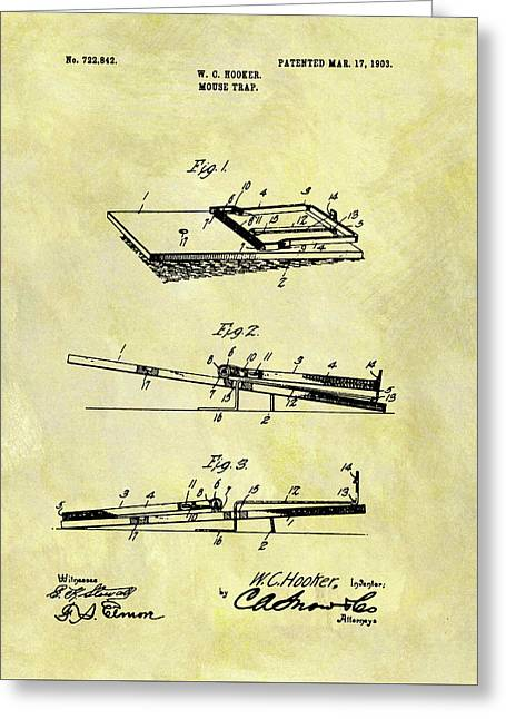 Greeting Card featuring the mixed media 1903 Mouse Trap Patent by Dan Sproul