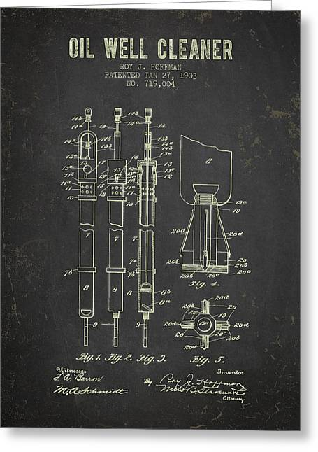 1903 Oil Well Cleaner Patent - Dark Grunge Greeting Card by Aged Pixel