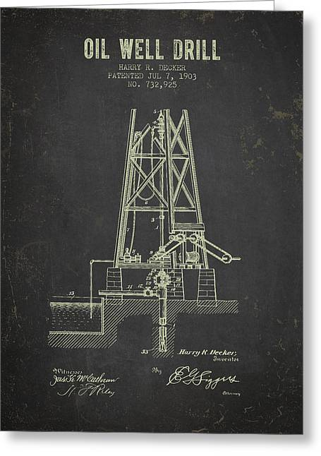 1903 Oil Well Drill Patent - Dark Grunge Greeting Card by Aged Pixel