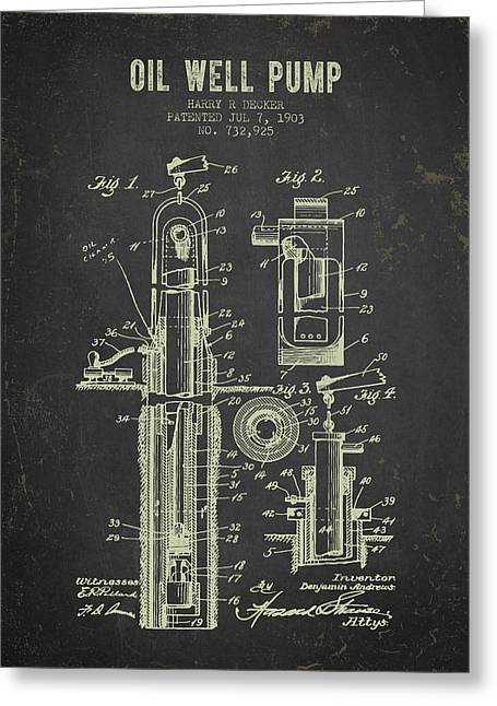 1903 Oil Well Pump Patent - Dark Grunge Greeting Card by Aged Pixel