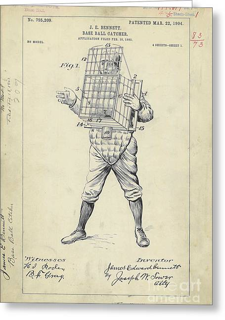 1904 Baseball Catcher Patent Greeting Card