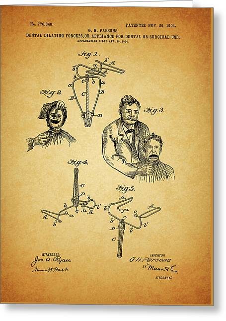 1904 Dental Forceps Patent Greeting Card by Dan Sproul