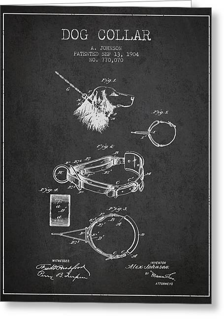 1904 Dog Collar Patent - Charcoal Greeting Card by Aged Pixel