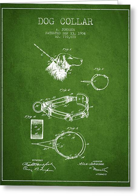 1904 Dog Collar Patent - Green Greeting Card by Aged Pixel
