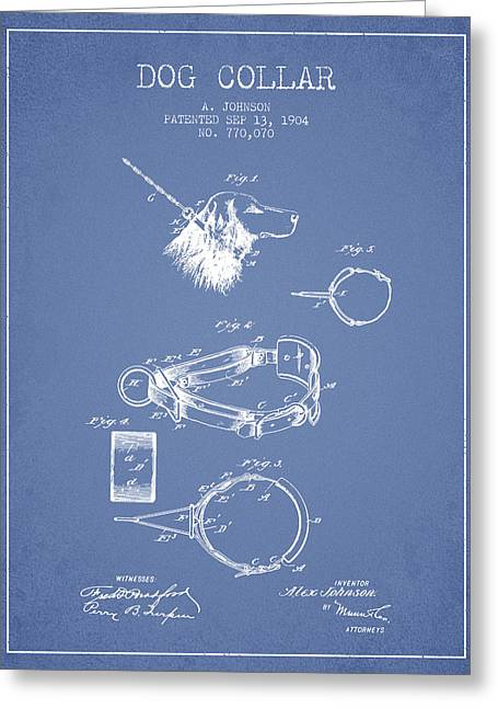 1904 Dog Collar Patent - Light Blue Greeting Card by Aged Pixel