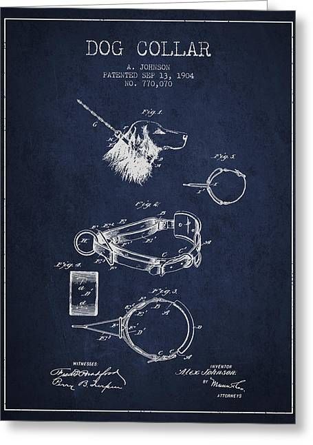 1904 Dog Collar Patent - Navy Blue Greeting Card