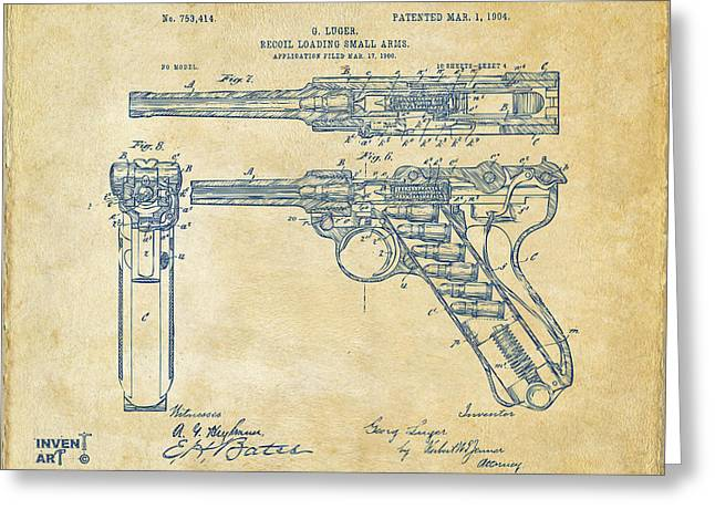 Hunting Drawings Greeting Cards - 1904 Luger Recoil Loading Small Arms Patent - Vintage Greeting Card by Nikki Marie Smith