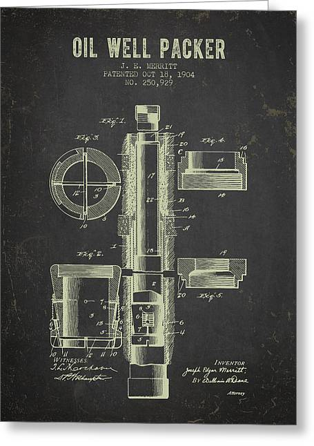 1904 Oil Well Packer Patent - Dark Grunge Greeting Card by Aged Pixel