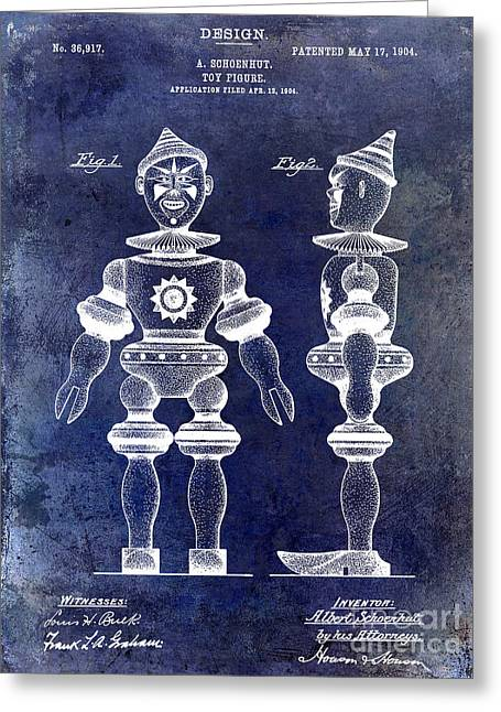 1904 Toy Patent Drawing Blue Greeting Card by Jon Neidert