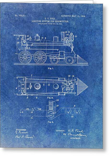 1904 Train Patent Greeting Card by Dan Sproul