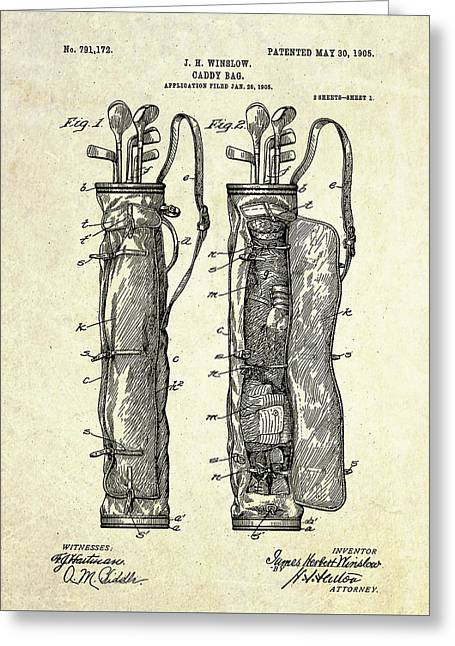 1905 Caddy Bag Patent Art S.1 Greeting Card by Gary Bodnar