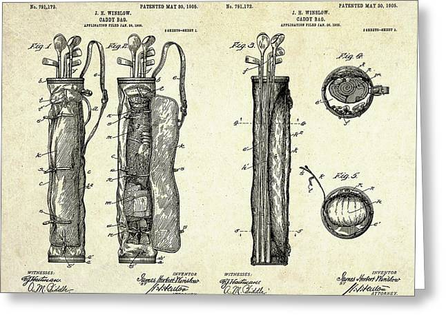 1905 Caddy Bag Patent Art Sheets Greeting Card by Gary Bodnar