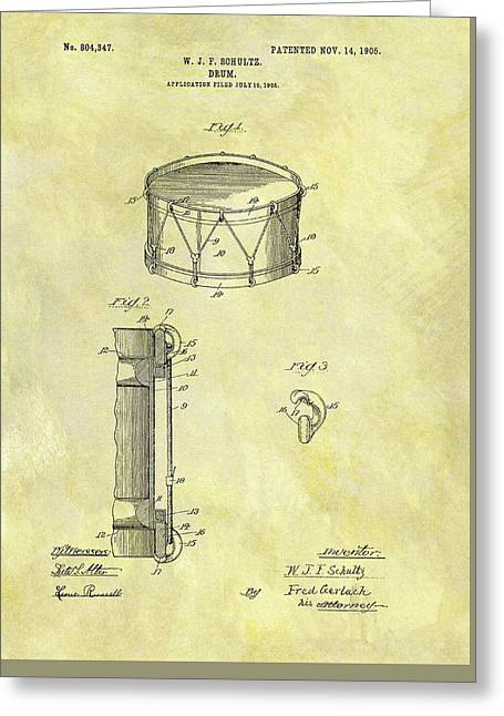 1905 Drum Patent Greeting Card by Dan Sproul