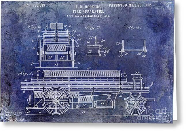 1905 Fire Apparatus Blue Greeting Card by Jon Neidert