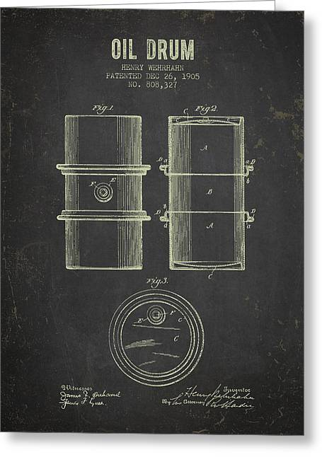 1905 Oil Drum Patent - Dark Grunge Greeting Card by Aged Pixel
