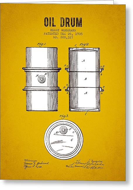 1905 Oil Drum Patent - Yellow Brown Greeting Card by Aged Pixel