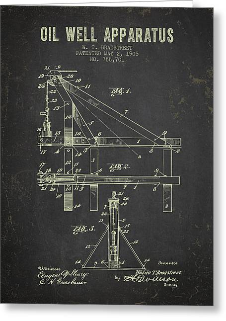 1905 Oil Well Apparatus Patent - Dark Grunge Greeting Card by Aged Pixel