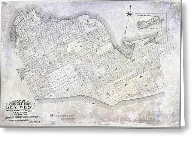1906 Key West Map Greeting Card by Jon Neidert
