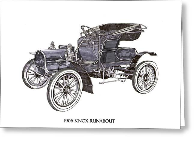 Greeting Card featuring the drawing 1906 Knox Model F 3 Surry by Jack Pumphrey