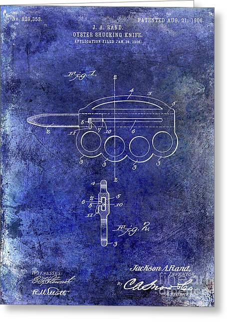 1906 Oyster Shucking Knife Patent Blue Greeting Card