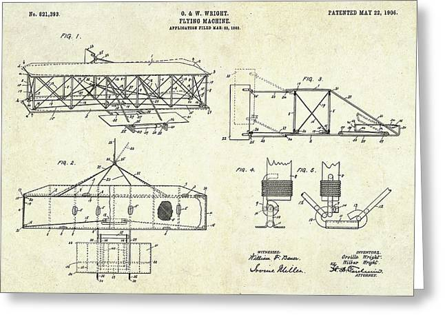 1906 Wright Brothers Patent Art S. 1-4 Greeting Card