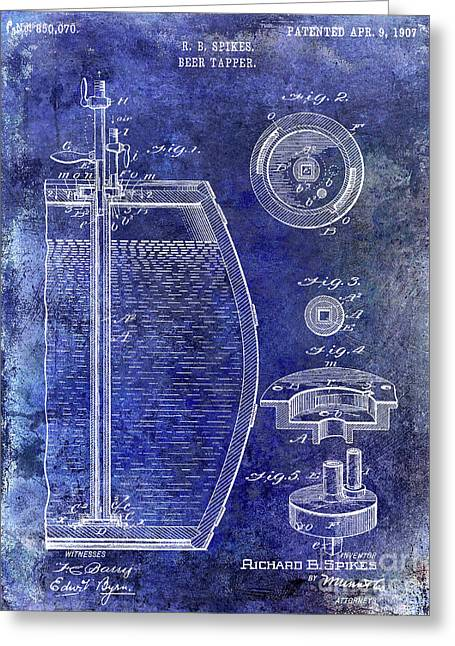 1907 Beer Tapper Patent Blue Greeting Card